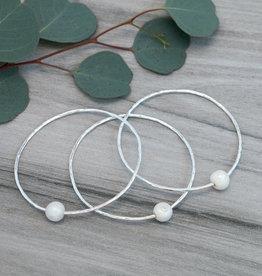 Silver White Pearl Honest Bangle