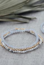 Bracelet Cici howlite & agate bleue or