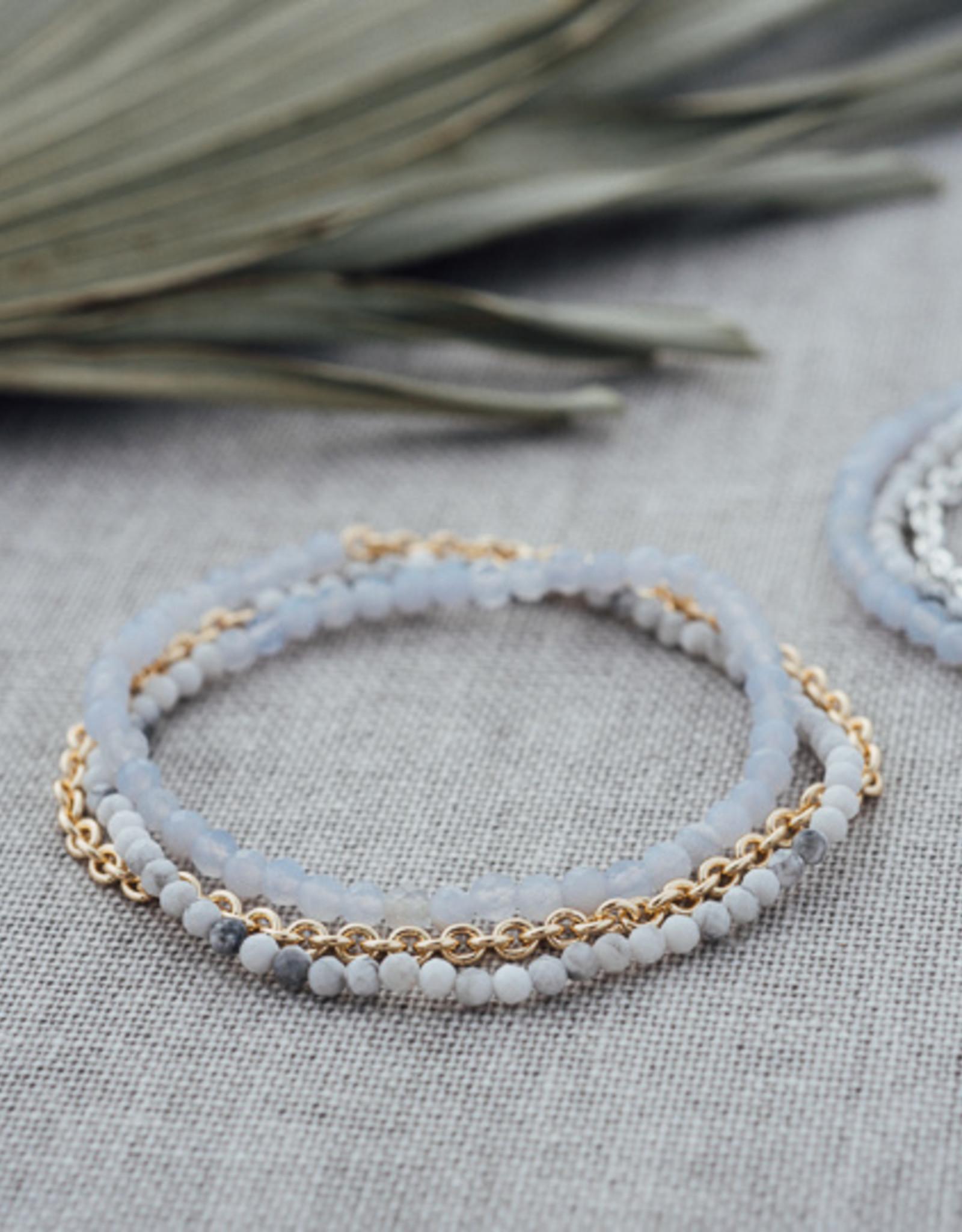 Gold Howlite Blue Lace Agate Cici Bracelet