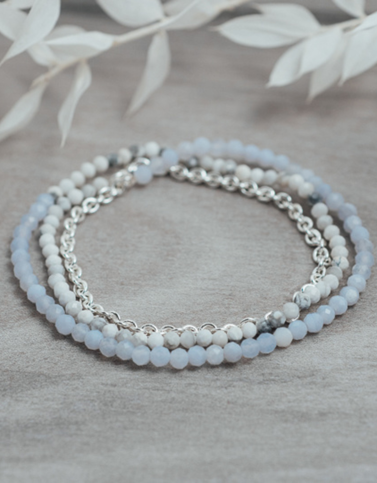 Bracelet Cici howlite & agate bleue argent
