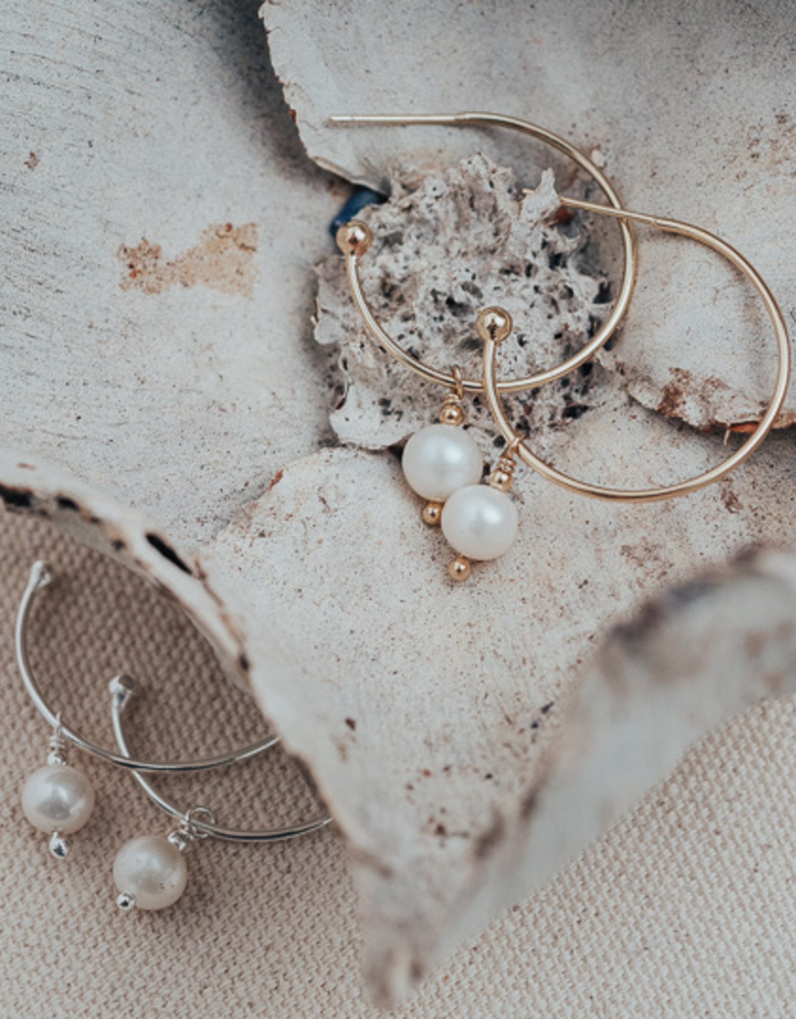 Gold White Pearl Passion Hoops