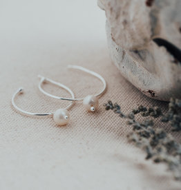 Silver White Pearl Passion Hoops