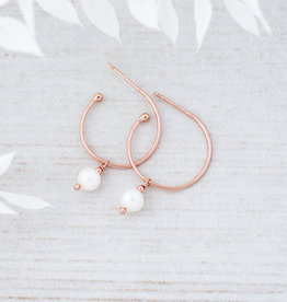 Rose Gold White Pearl Passion Hoops