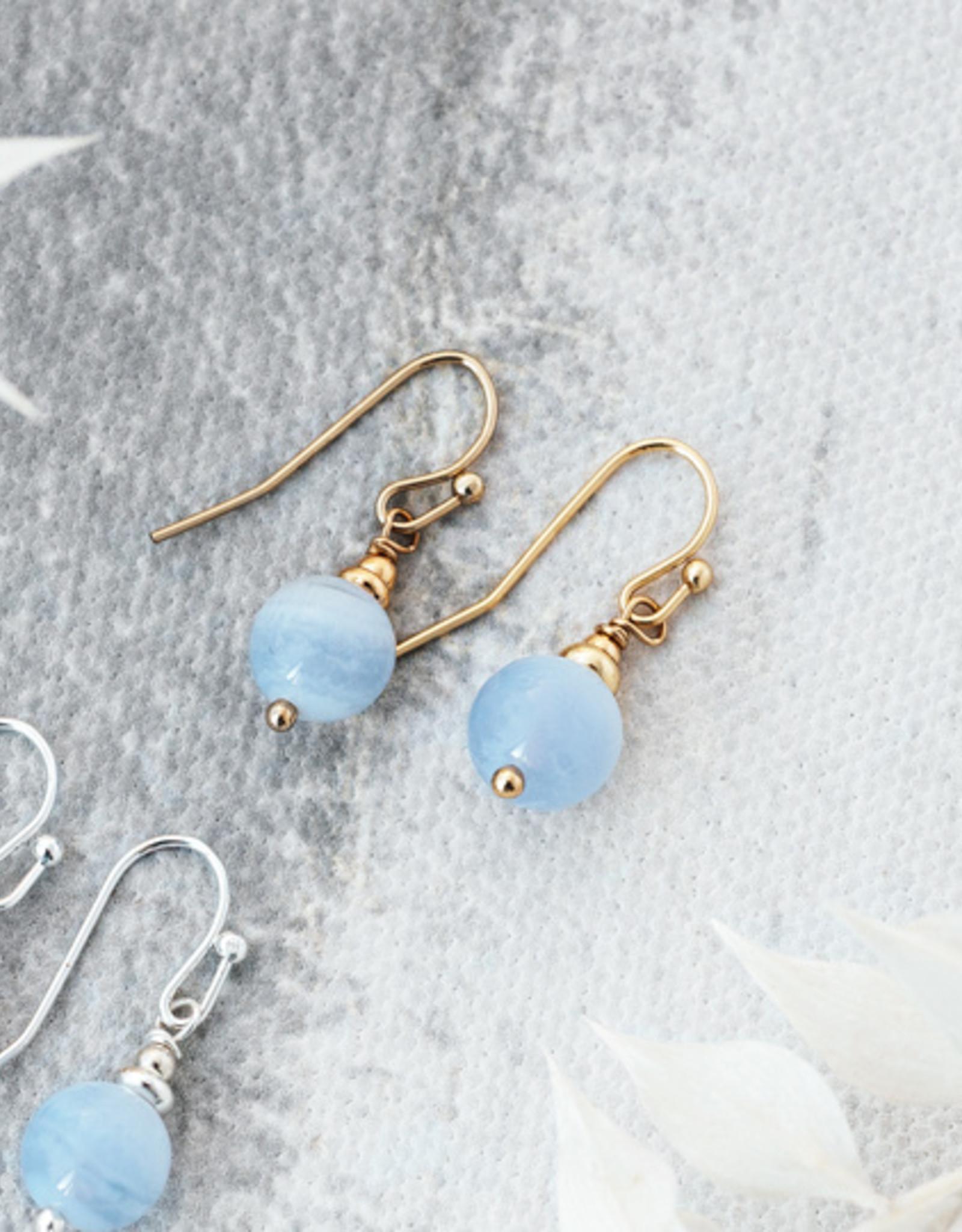 Boucles d'oreilles Mingle agate bleue or