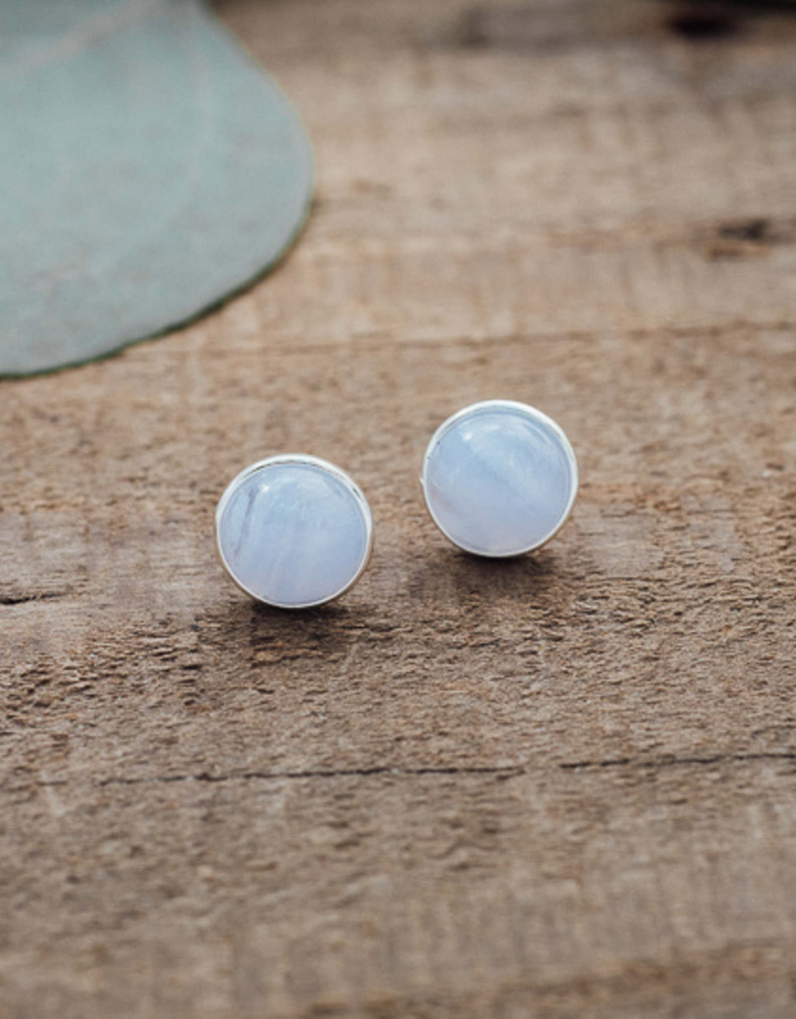 Silver Blue Lace Agate Anytime Studs