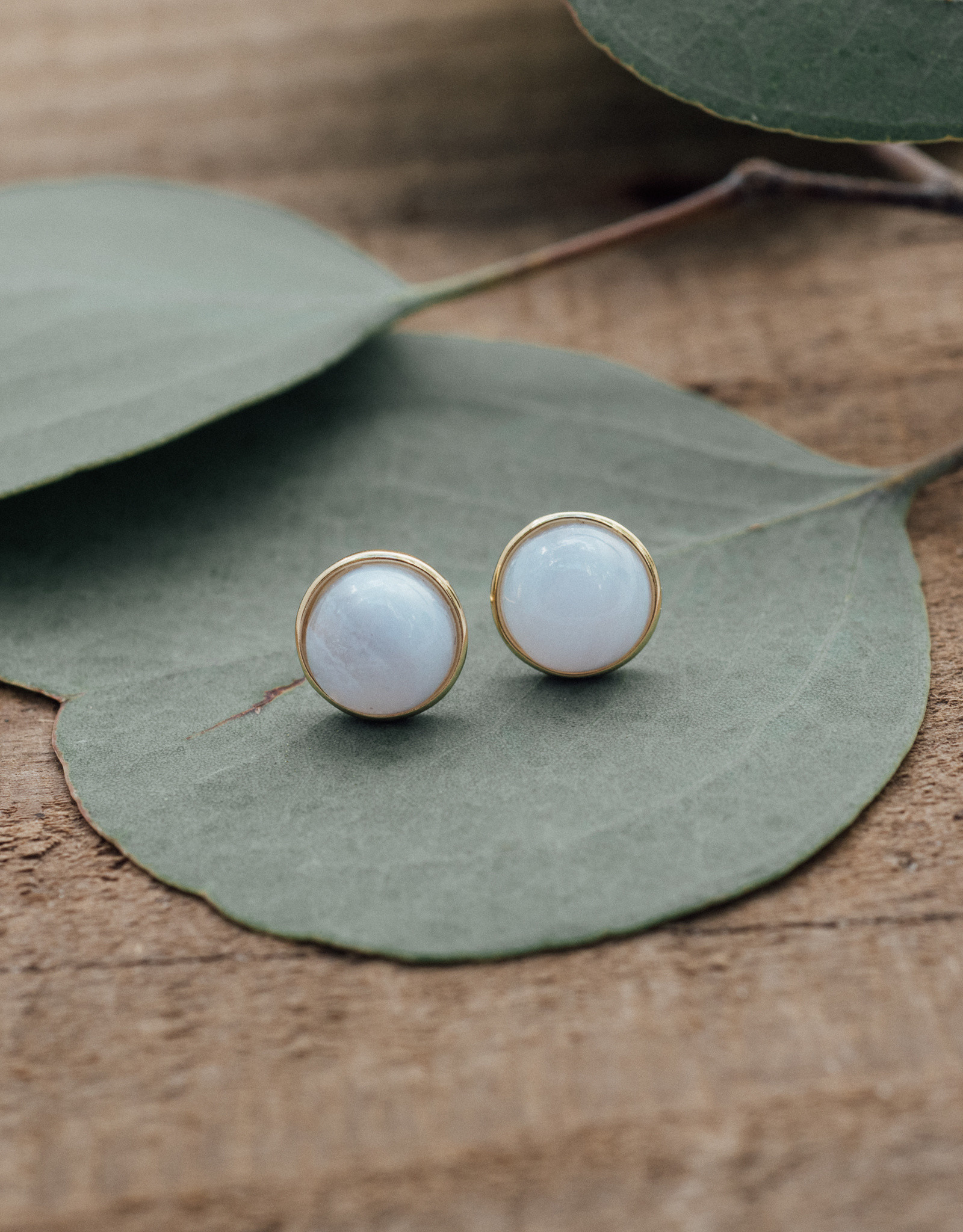 Gold Blue Lace Agate Anytime Studs