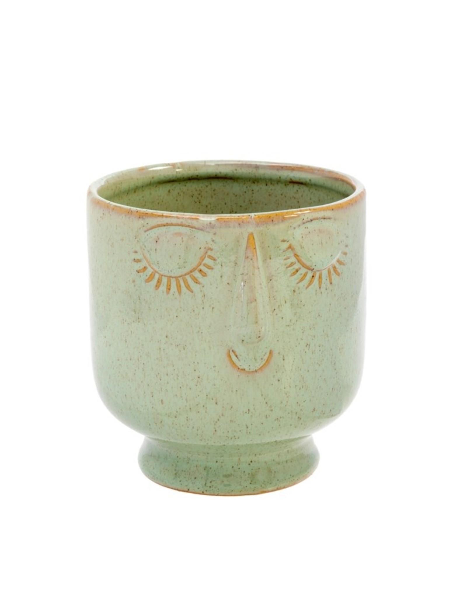 Friendly Face Pot L Moss
