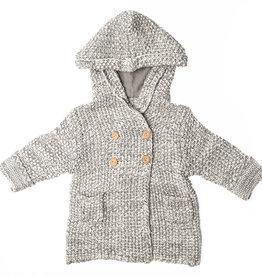 Chandail à capuchon en tricot  gris 6-12 mois