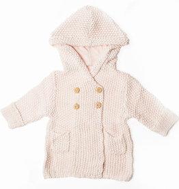 Chandail à capuchon en tricot rose 6-12 mois