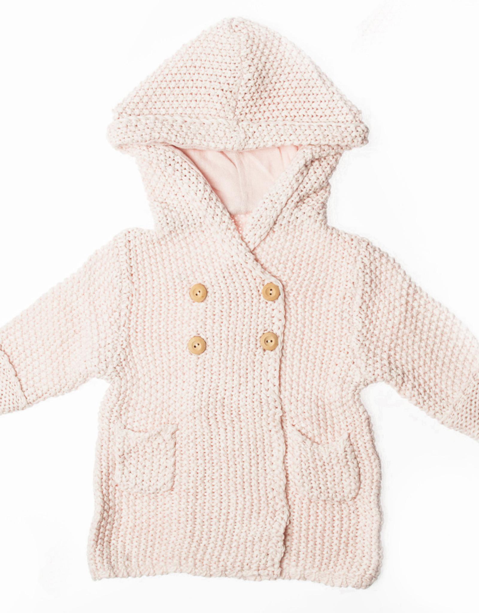Chandail à capuchon en tricot rose 12-18 mois