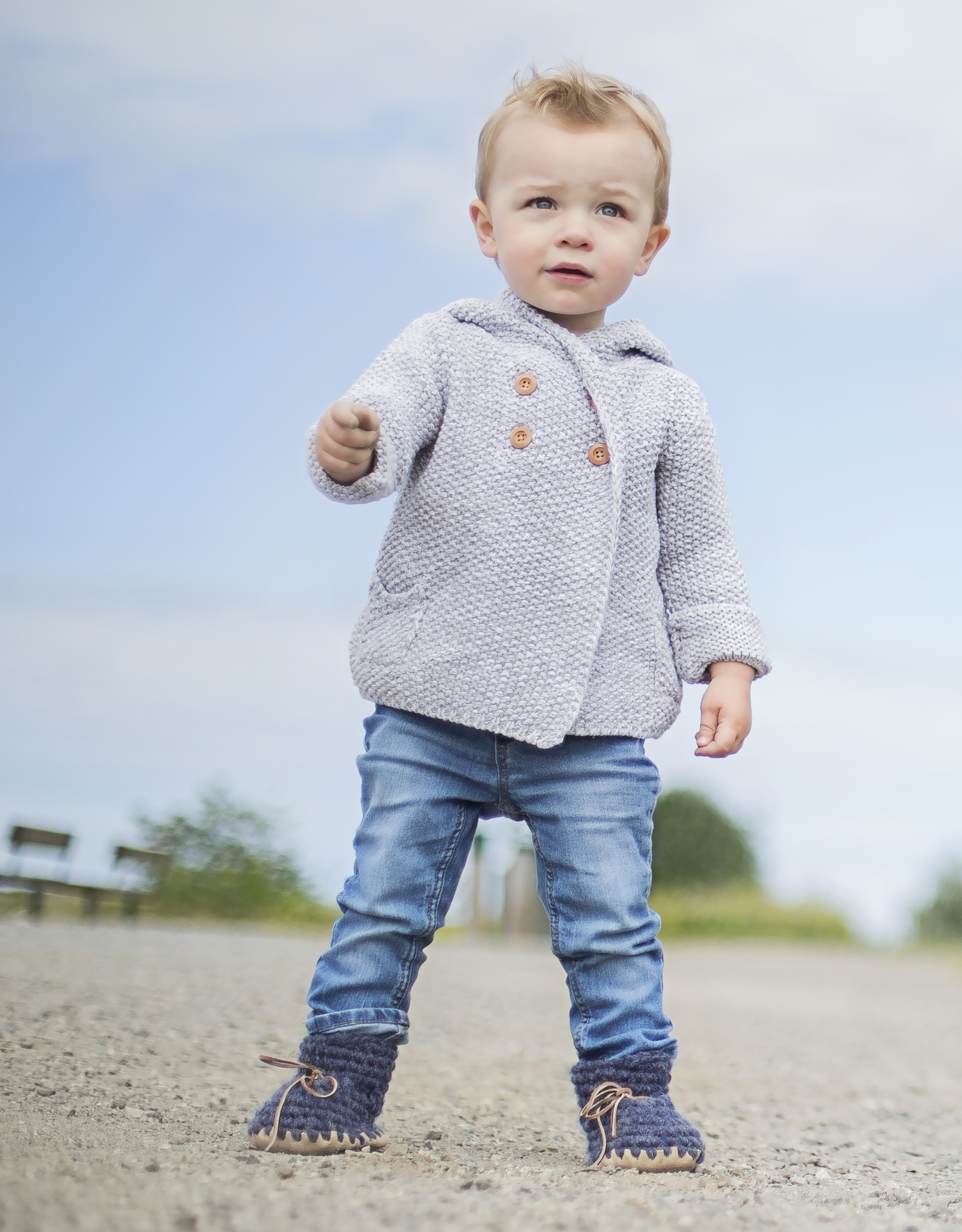 Crochet Knit Hoodie grey 12-18 months