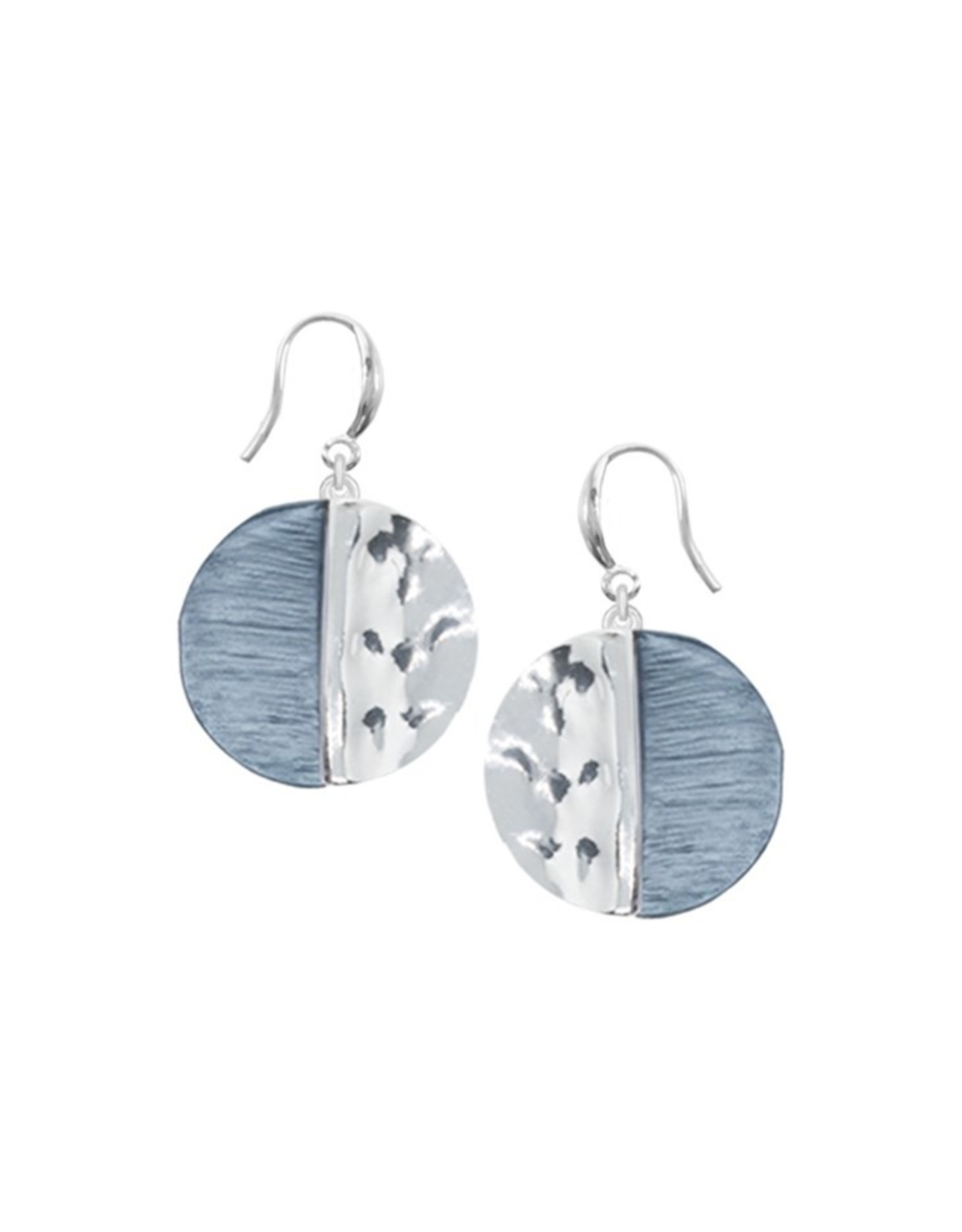 Blue & Silver Gold Disc Earrings