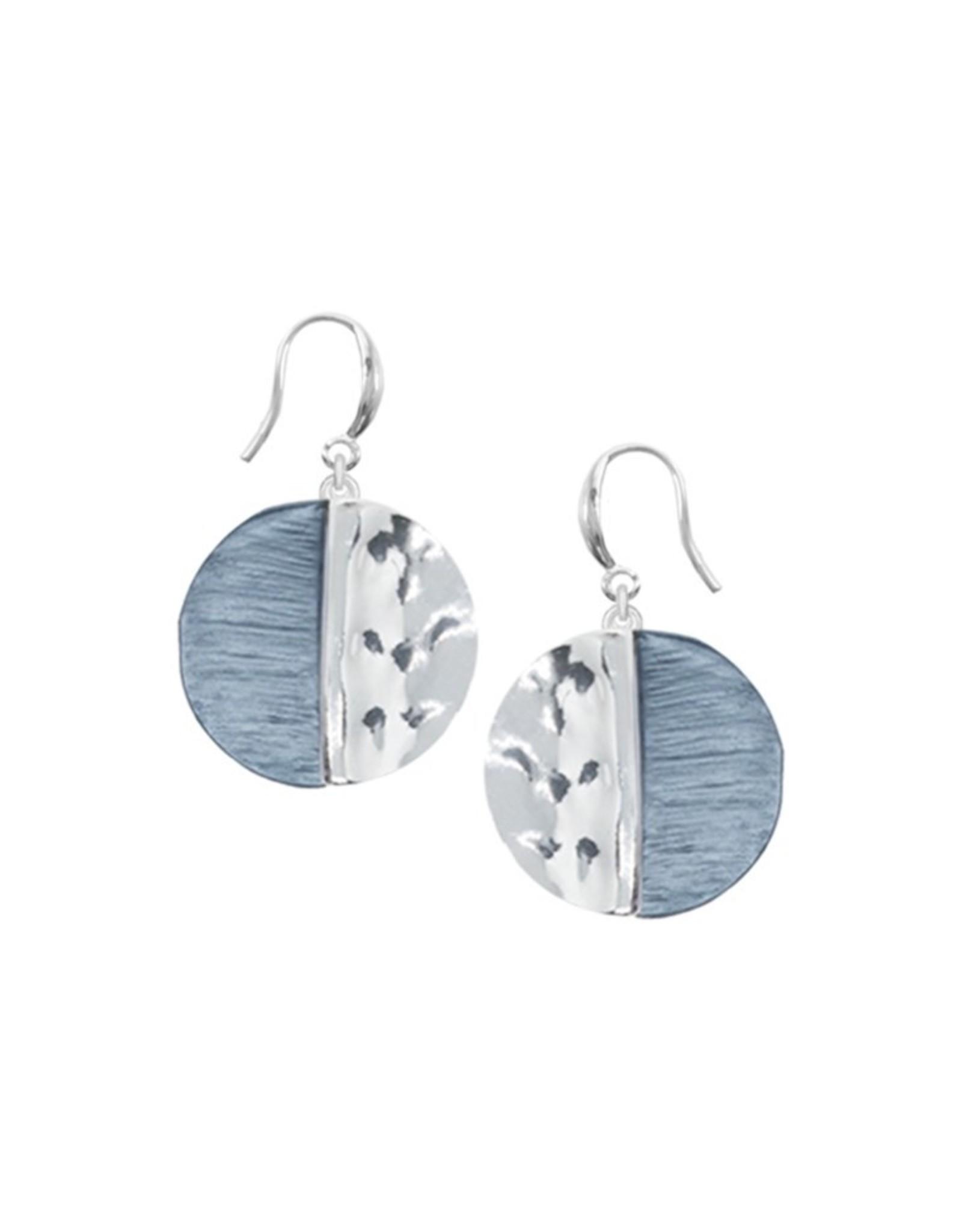 Boucles d'oreilles  rondes bleu et argent