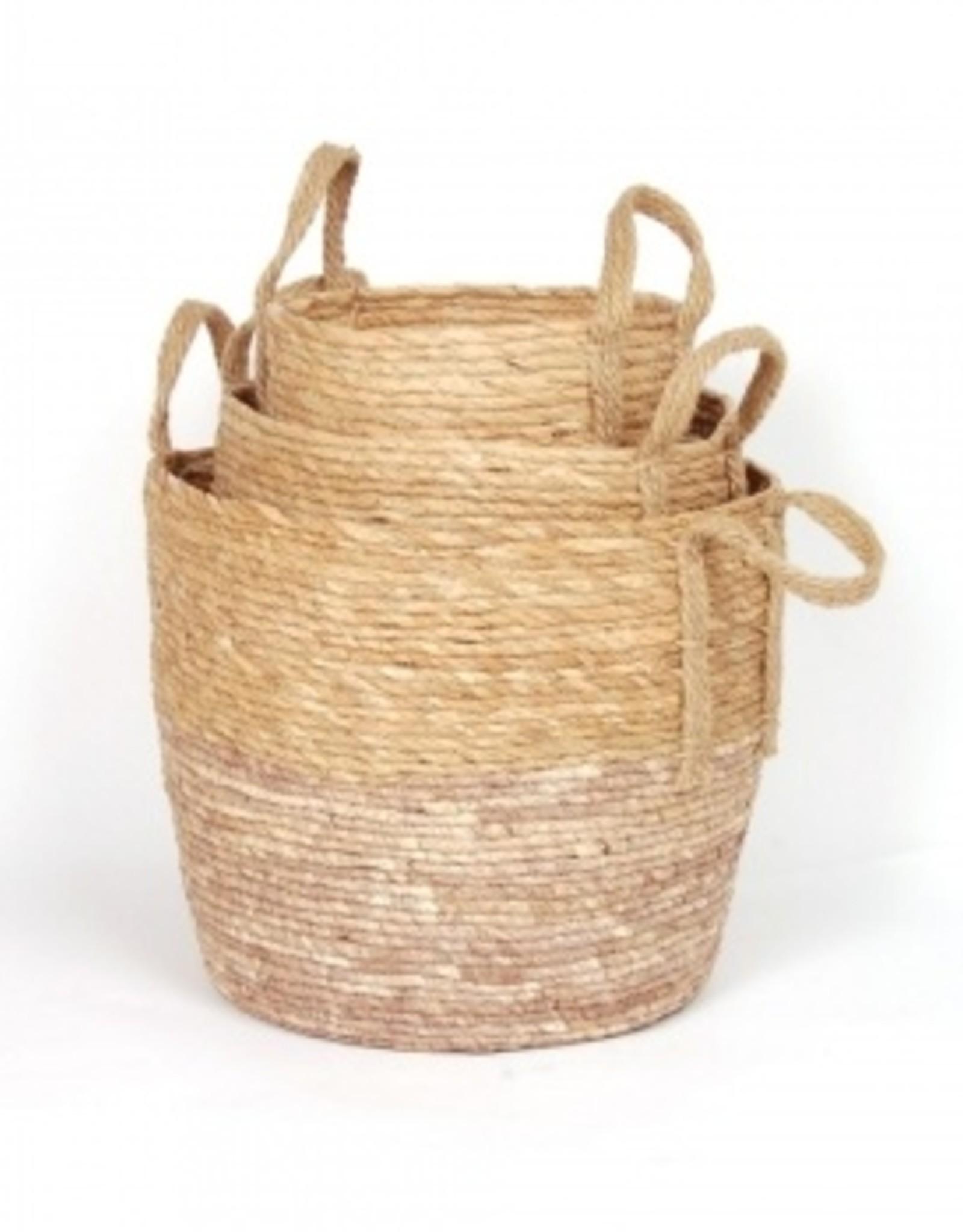 Blush/Natural Straw Basket (small)