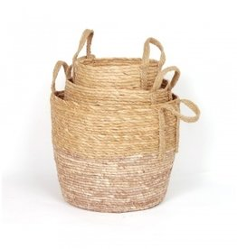 Blush/Natural Straw Basket (medium)