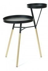 2 Level Side Table Blk/Gold