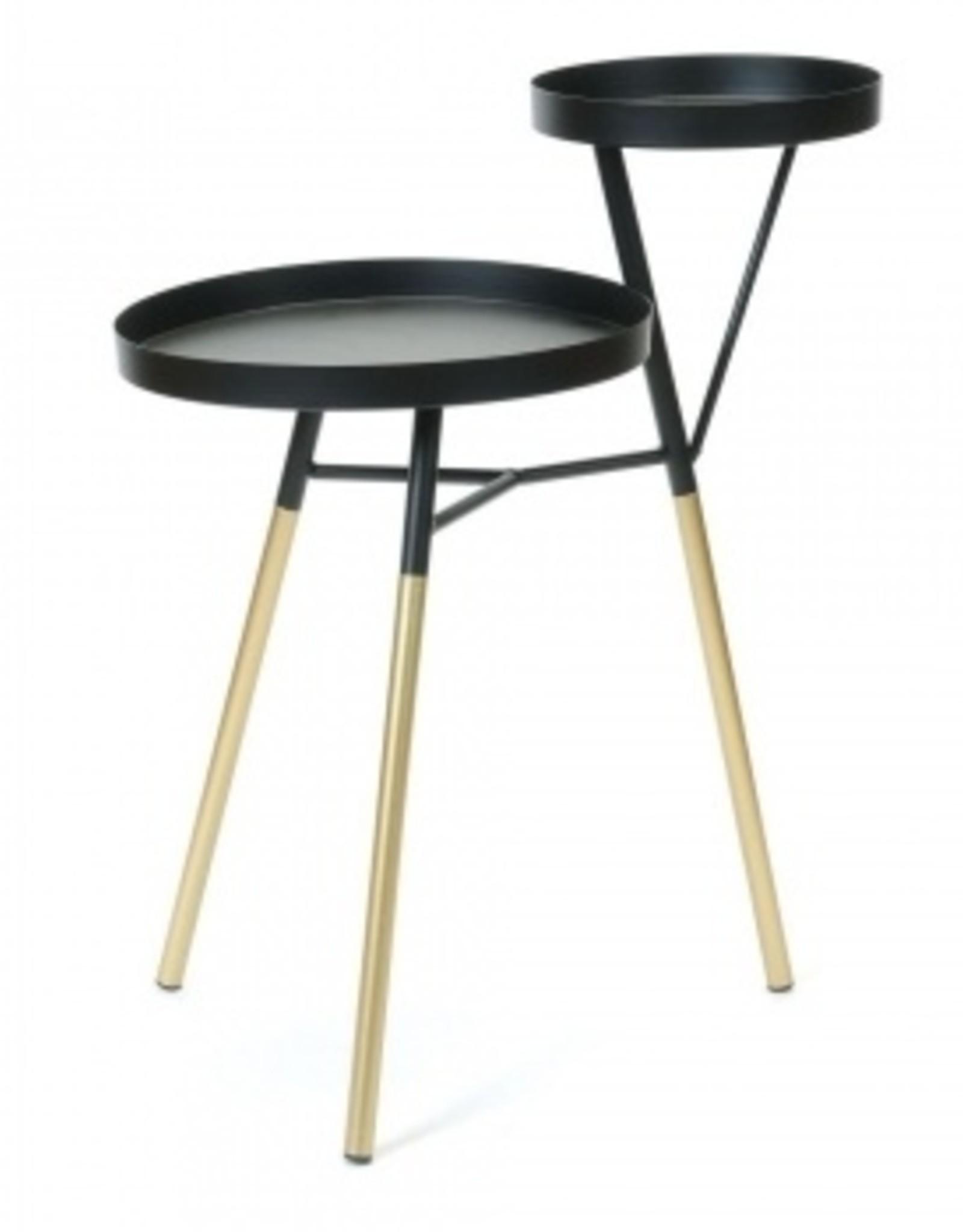 2 Level Side Table black/gold