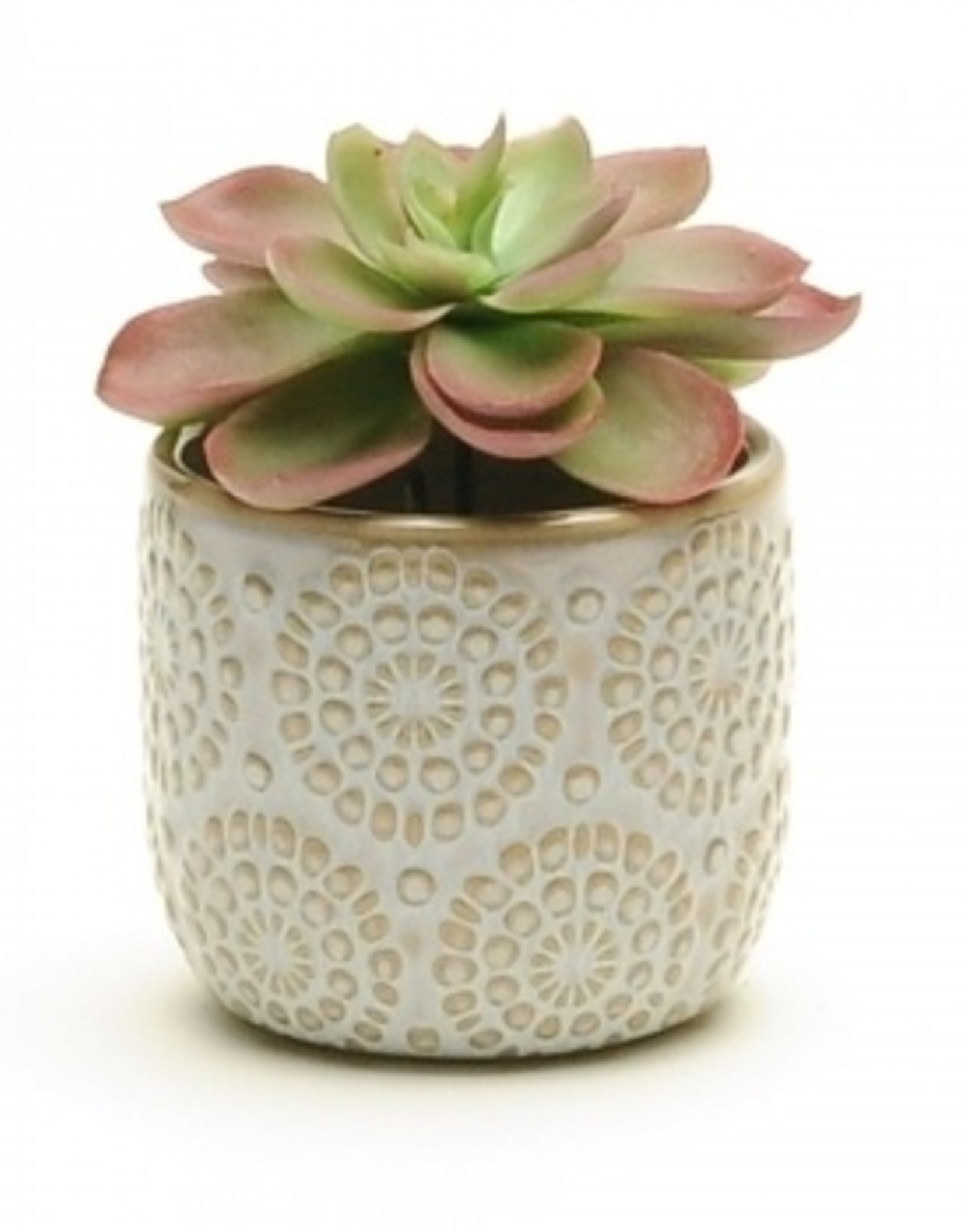 White Embossed Pot (small)