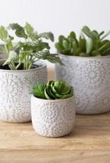White Embossed Pot (medium)
