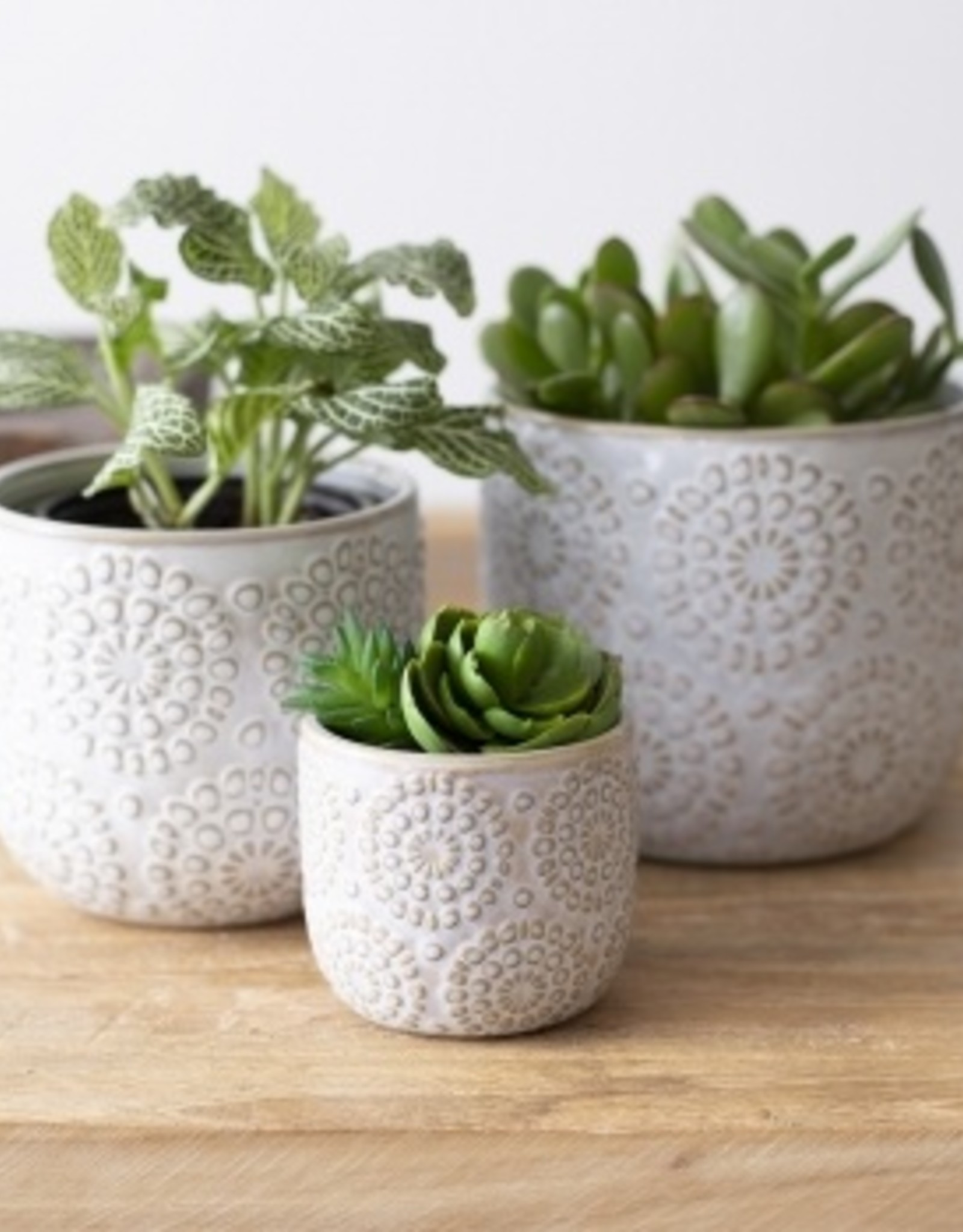 Pot blanc à motif en relief (moyen)