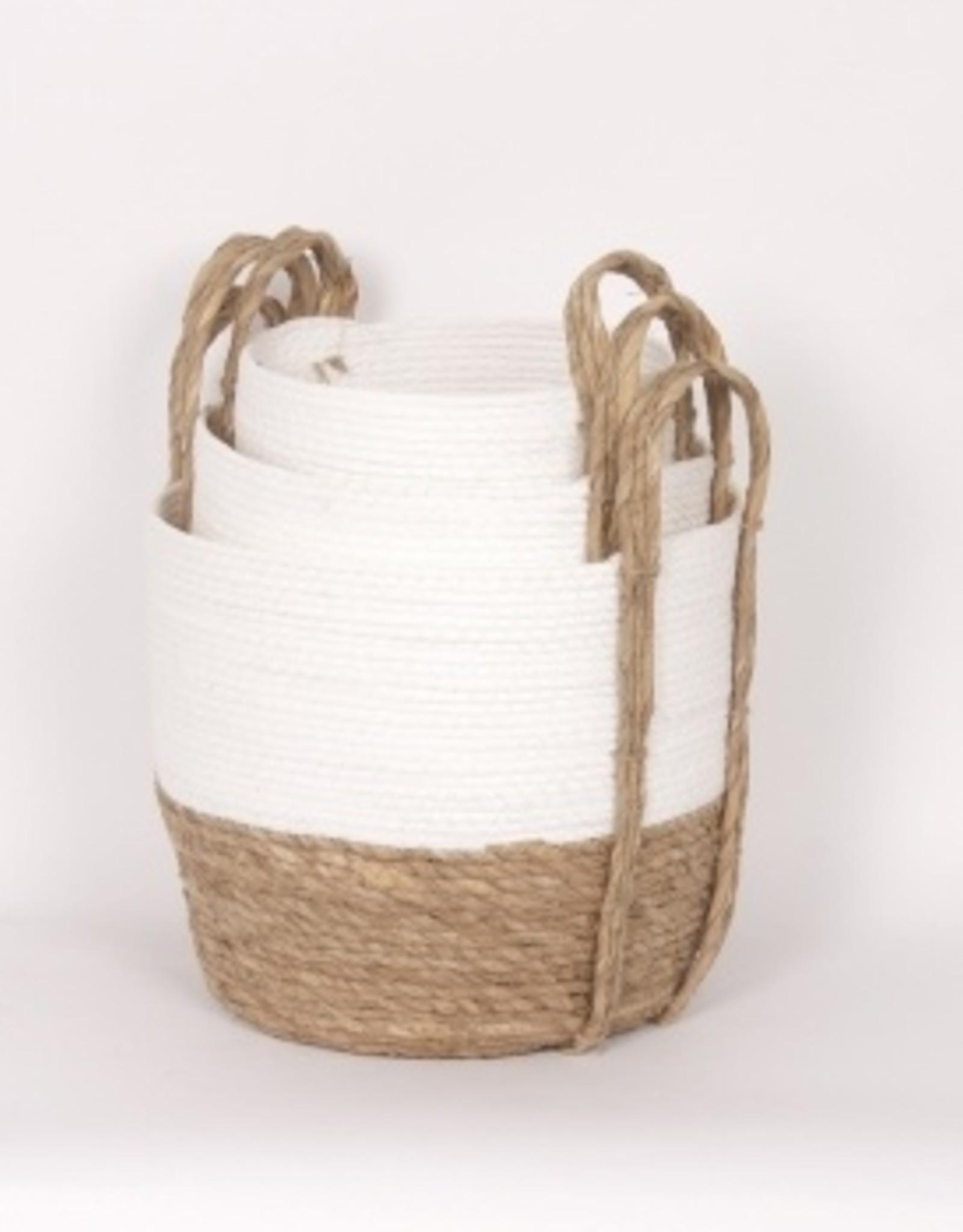 Straw Basket White/Natural (small)