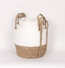 Straw Basket White/Natural (small)