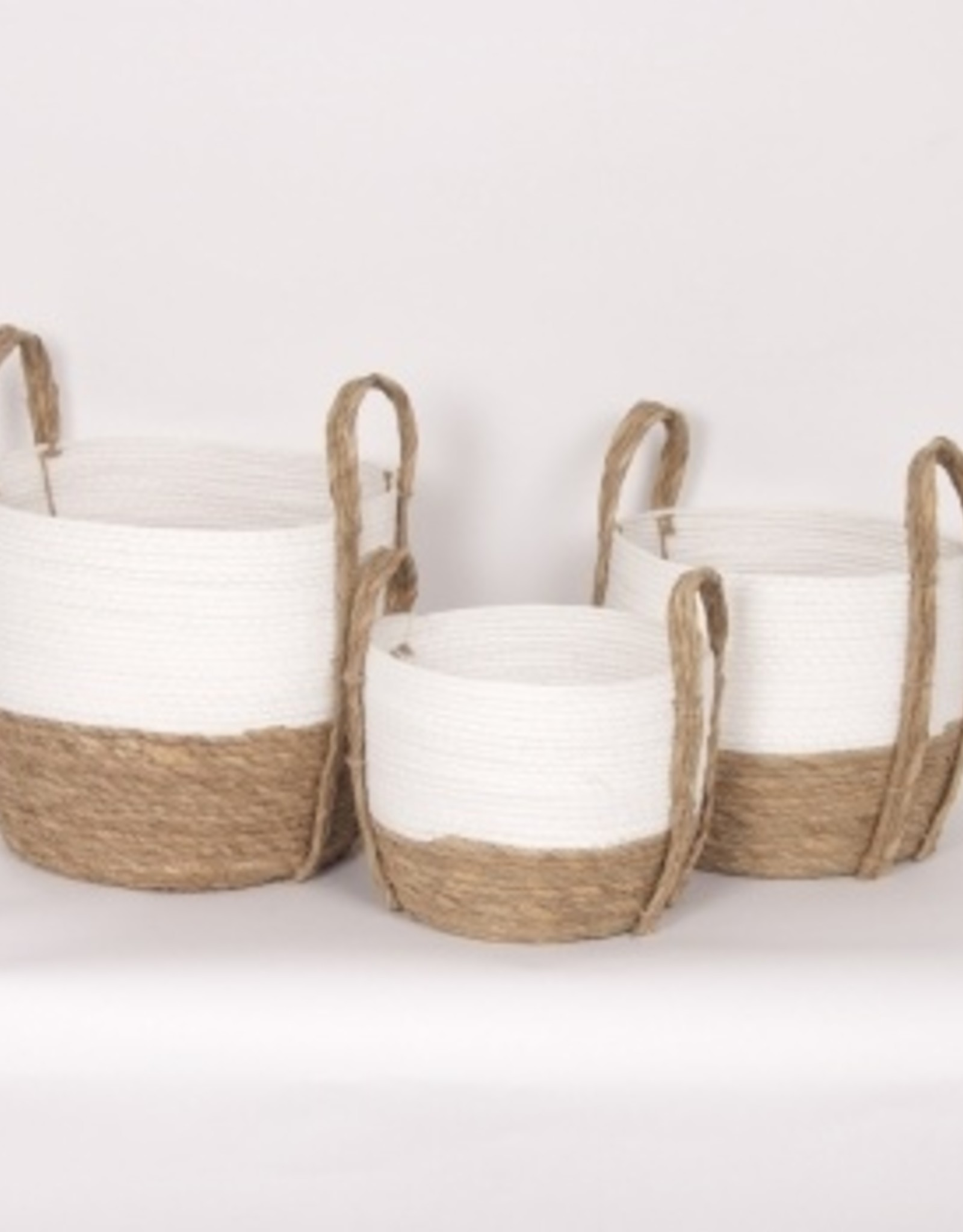 Straw Basket White/Natural (large)