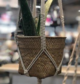 Basket Weave Cement Pot in Macrame Hanger