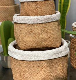 Basket Weave Cement Pot White Trim (large)