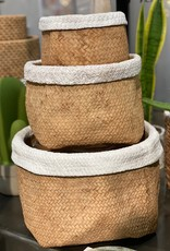 Basket Weave Cement Pot White Trim (medium)