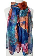 Flower Print Scarf-blue