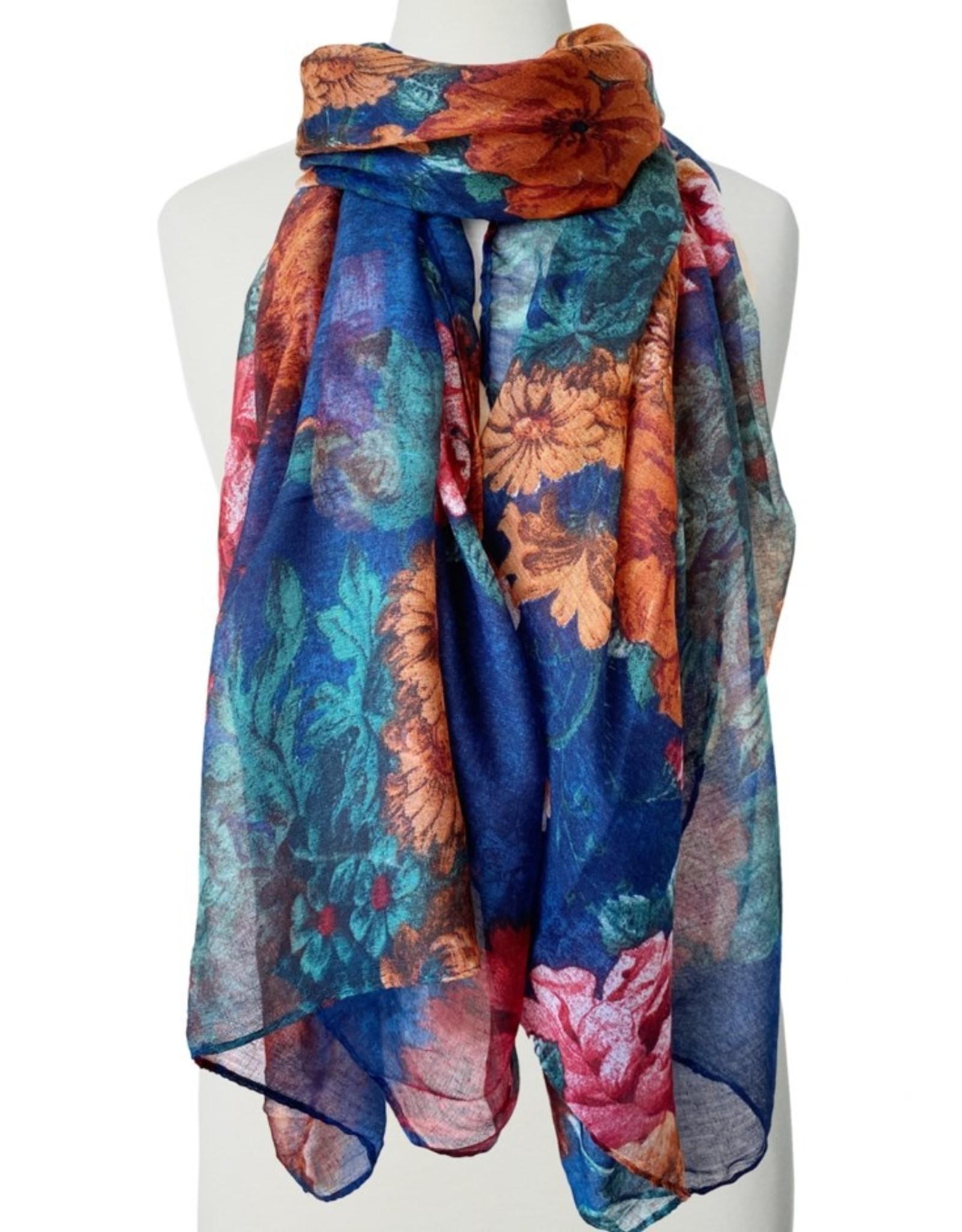 Foulard imprimé fleurs-bleu