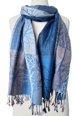 Foulard soyeux imprimé arbres-bleu