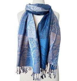 Tree Printed Silky Scarf-blue