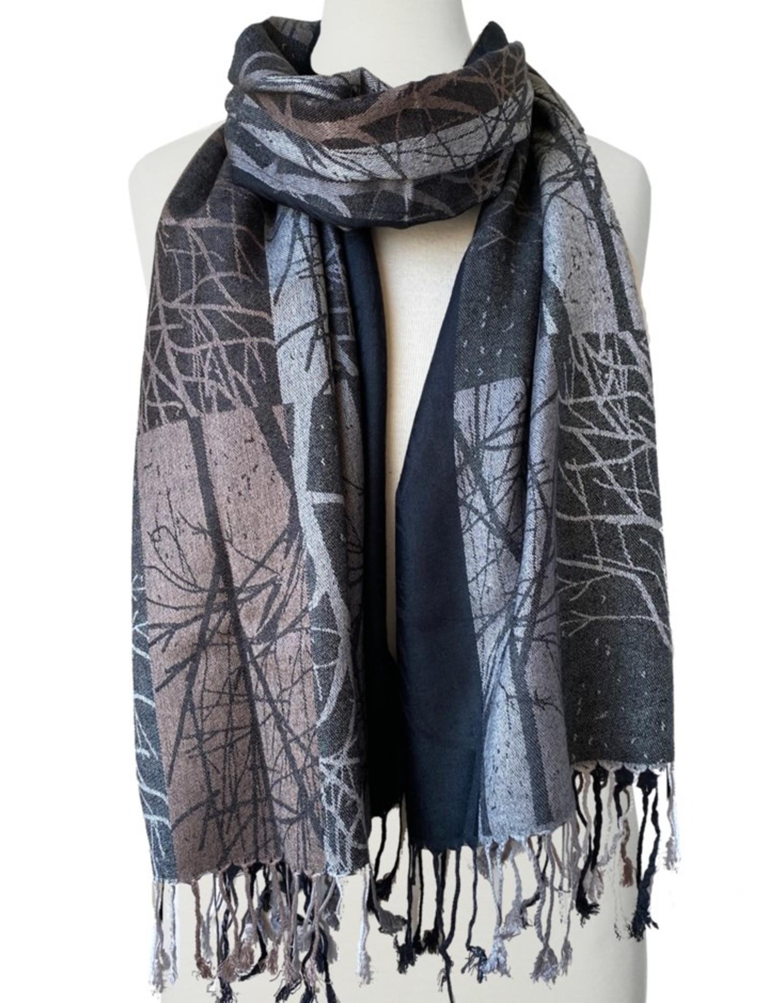 Tree Printed Silky Scarf-black