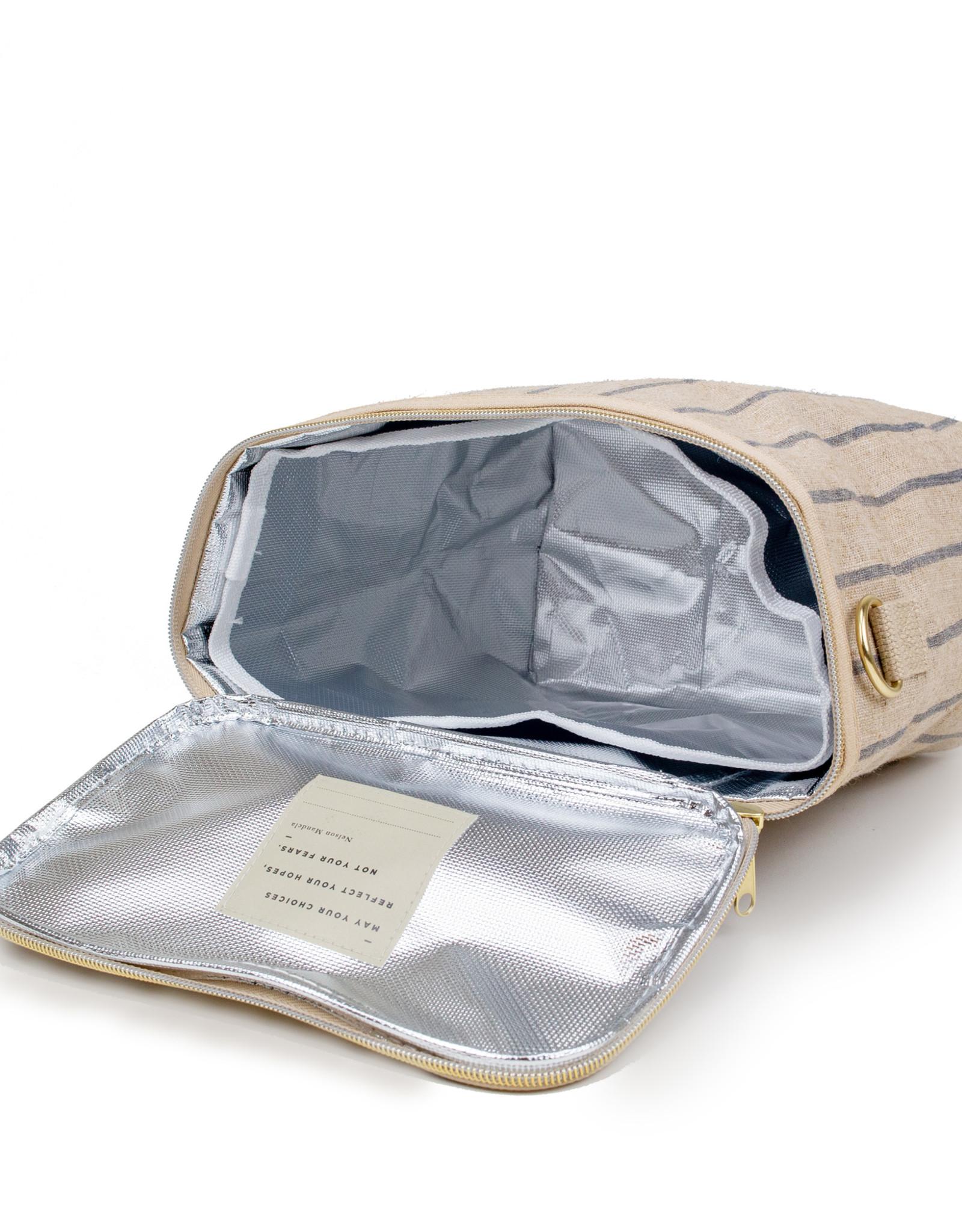 Boîte à lunch à rayures verticales gris-bleu