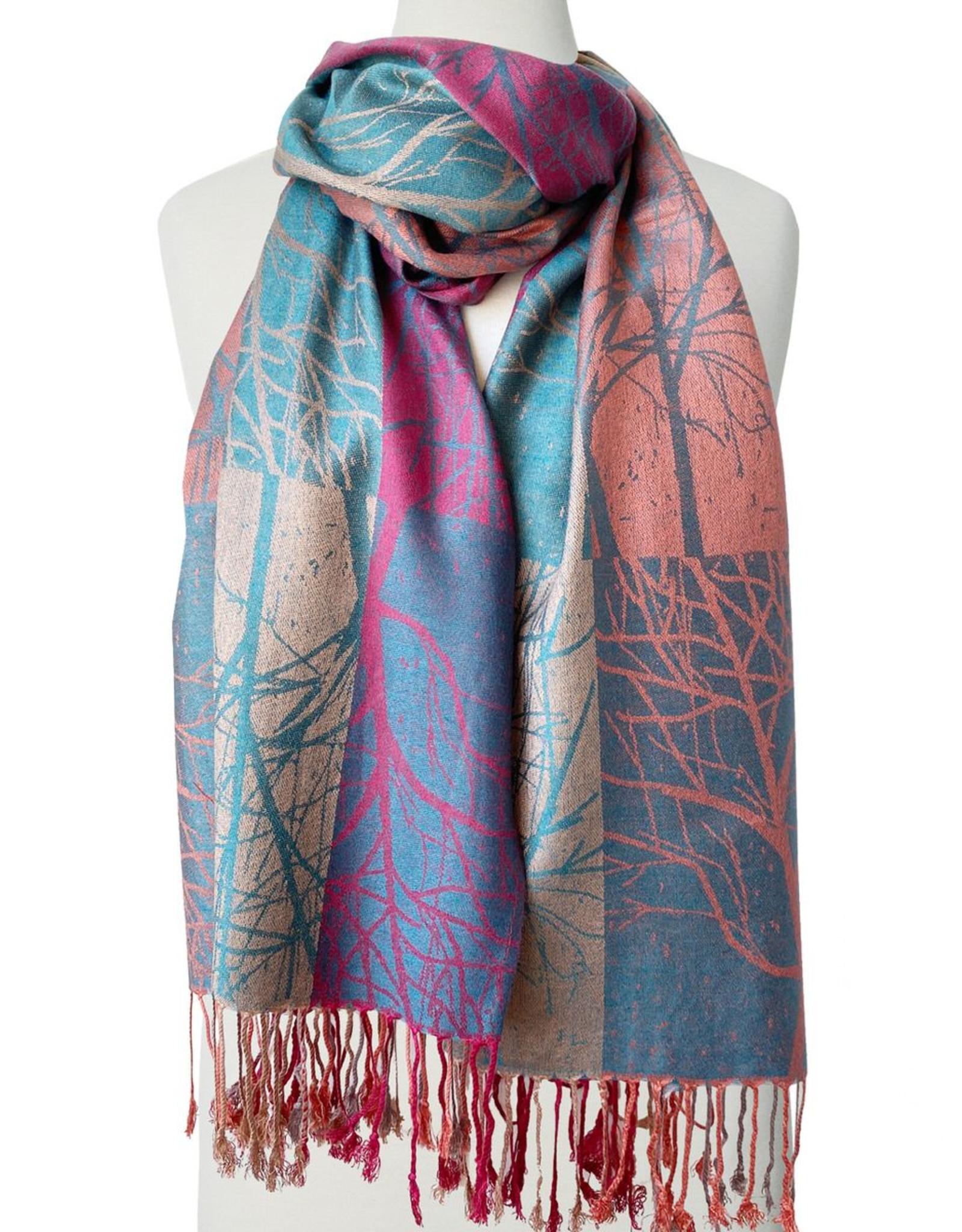 Foulard soyeux imprimé arbres-rouille