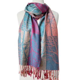 Tree Printed Silky Scarf-mix