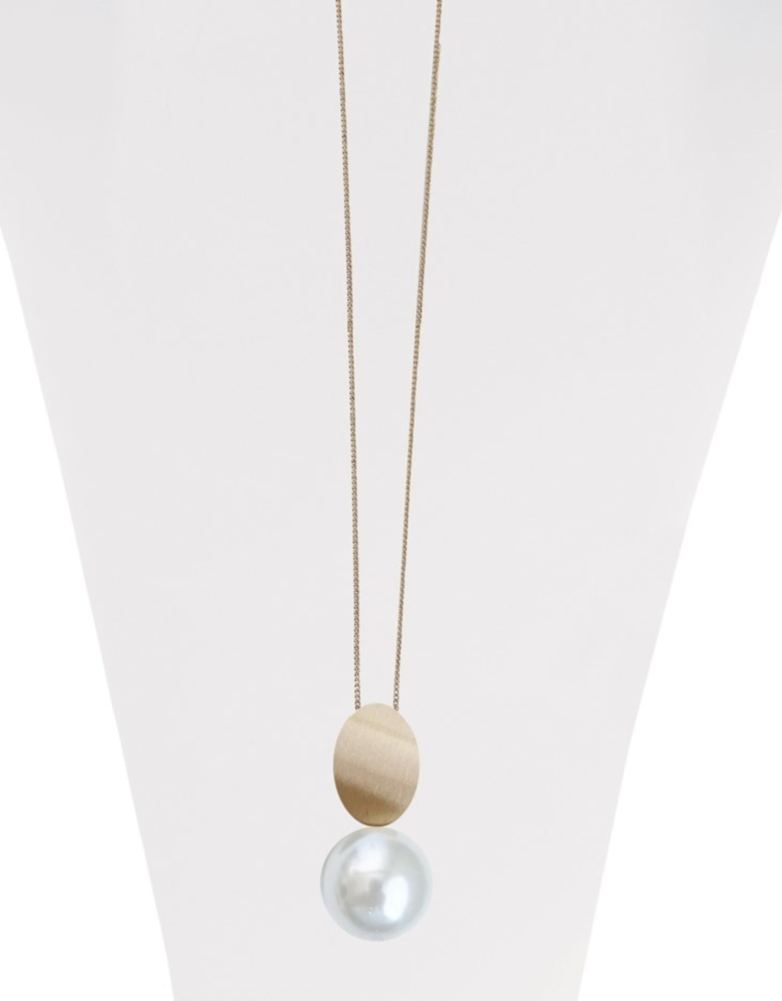 Long Adjustable Necklace with Brushed Metal Pendant & Pearl-gold