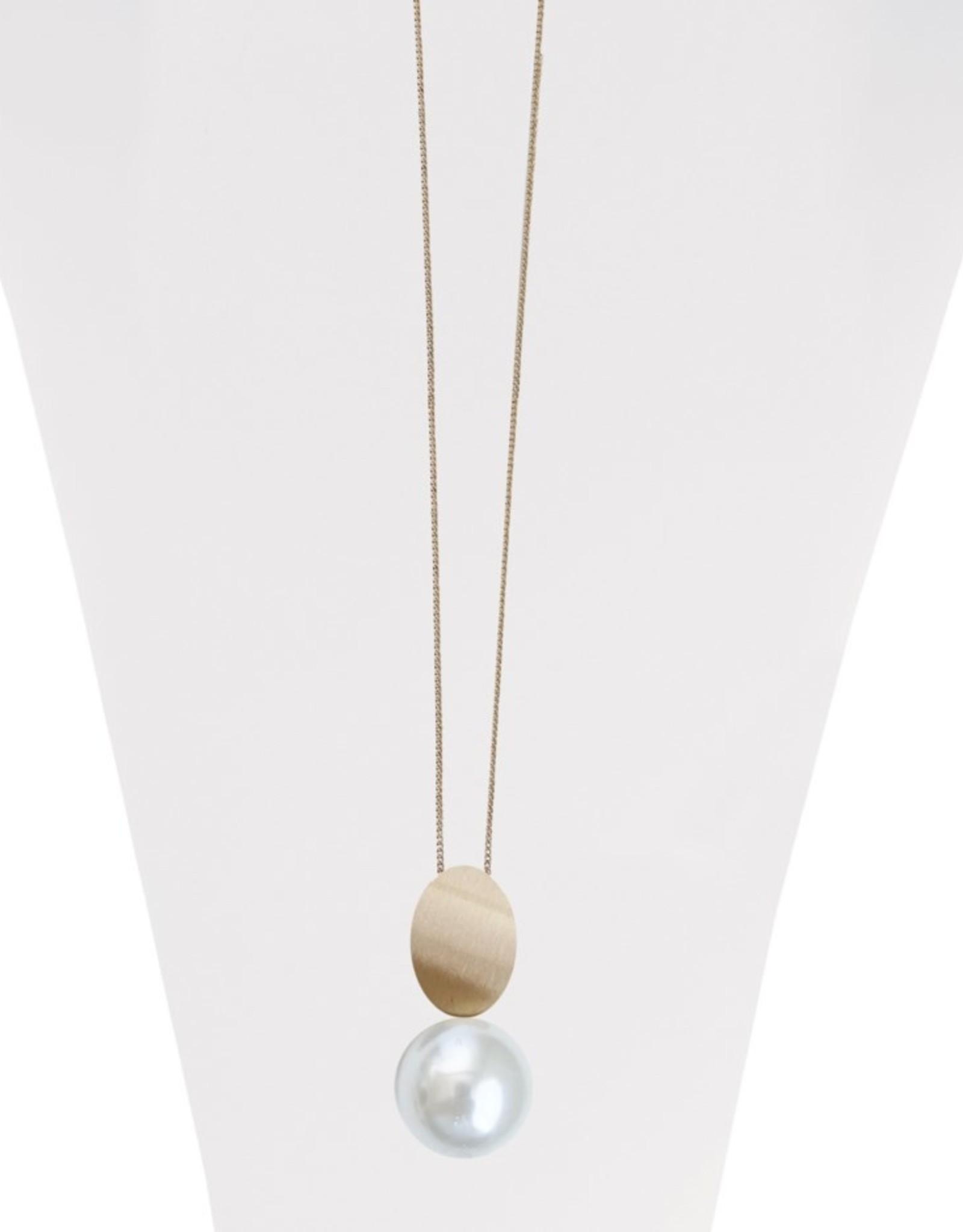 Long collier ajustable avec pendentif métalique brossé et perle-or