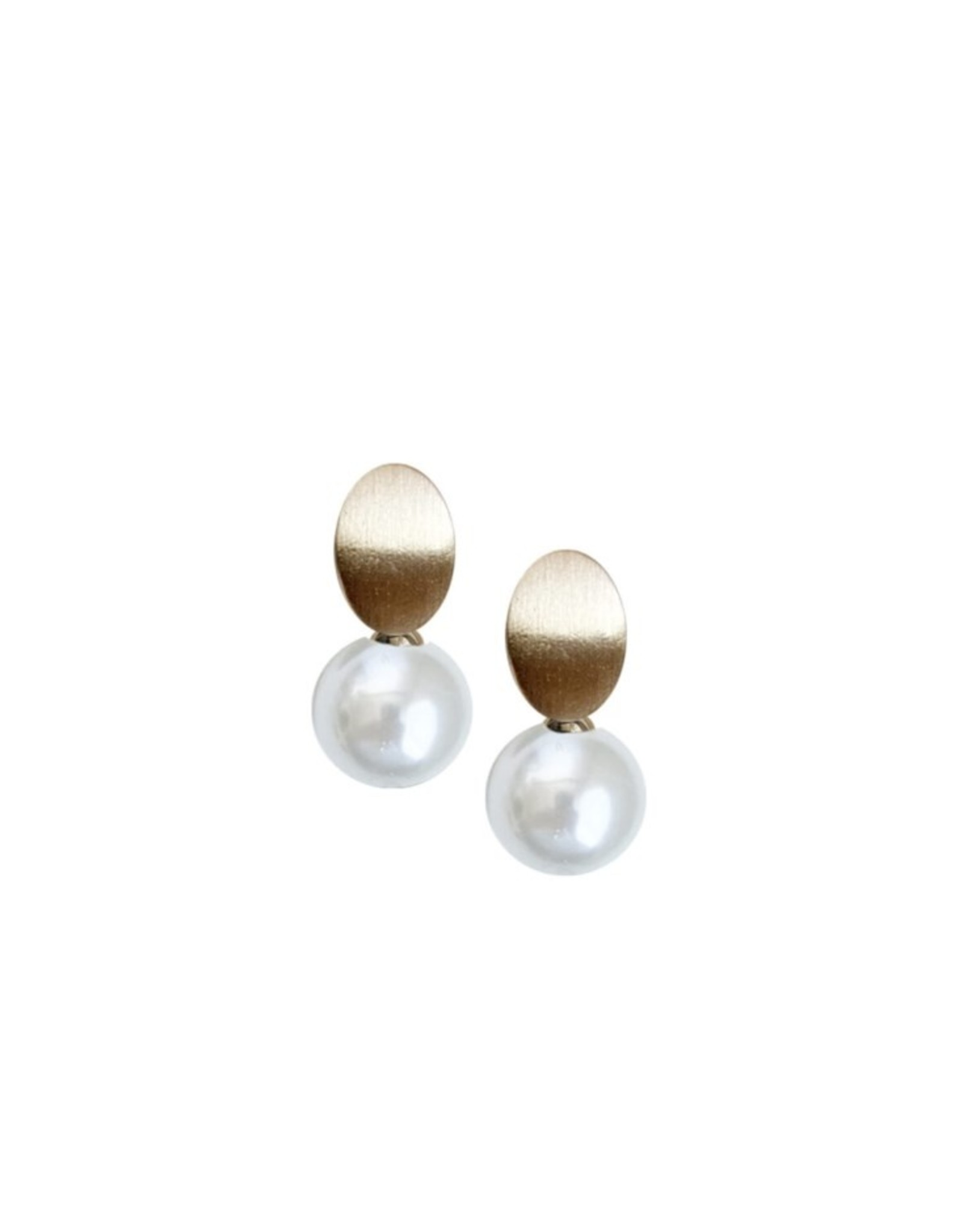 Brushed Metalllic Earrings with Pearl-gold