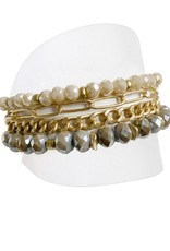 Bracelet with Glass Beads and Chains-gold