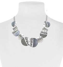 Hand Painted Metallic Necklace-grey