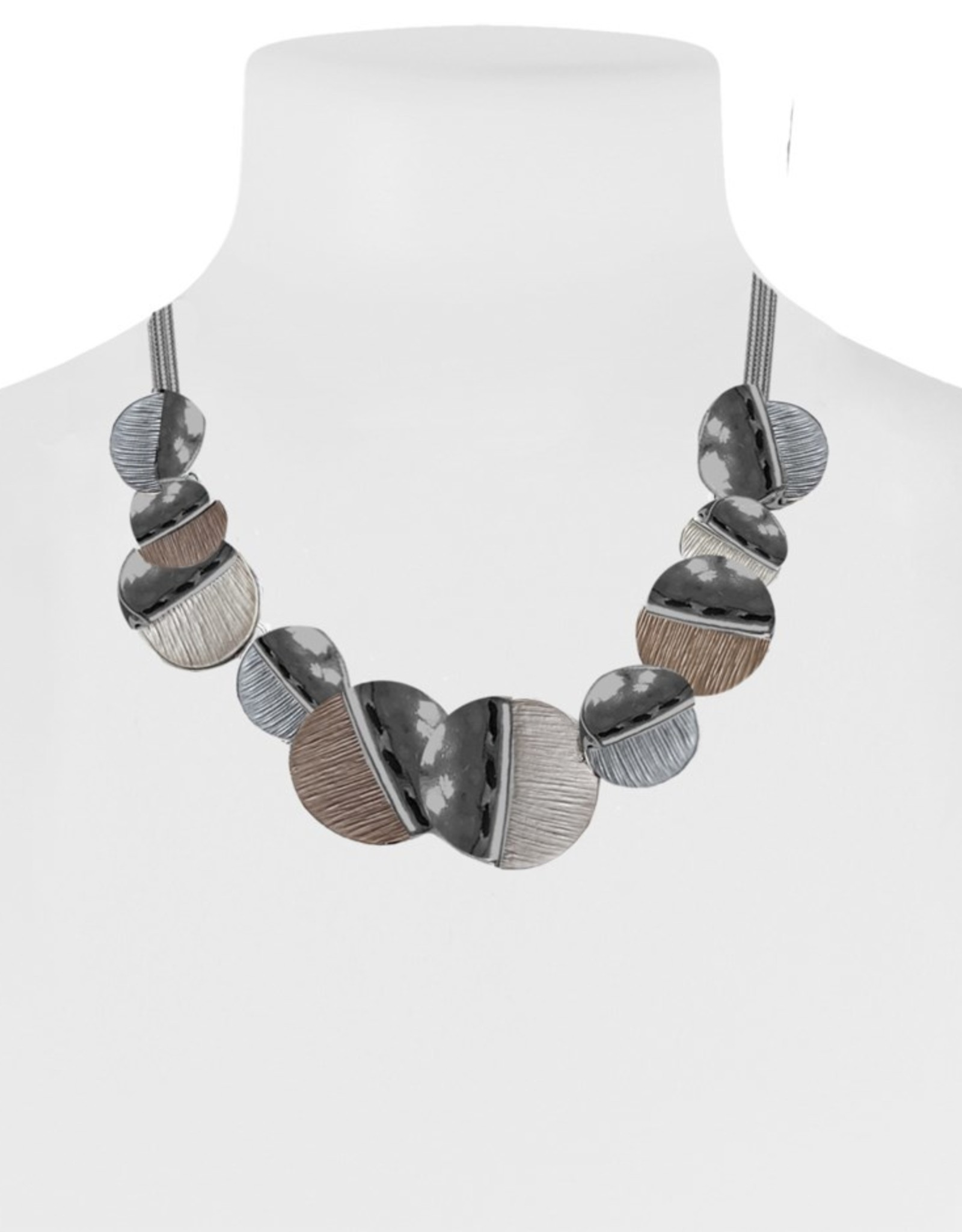 Hand Painted Metallic Necklace-coffee