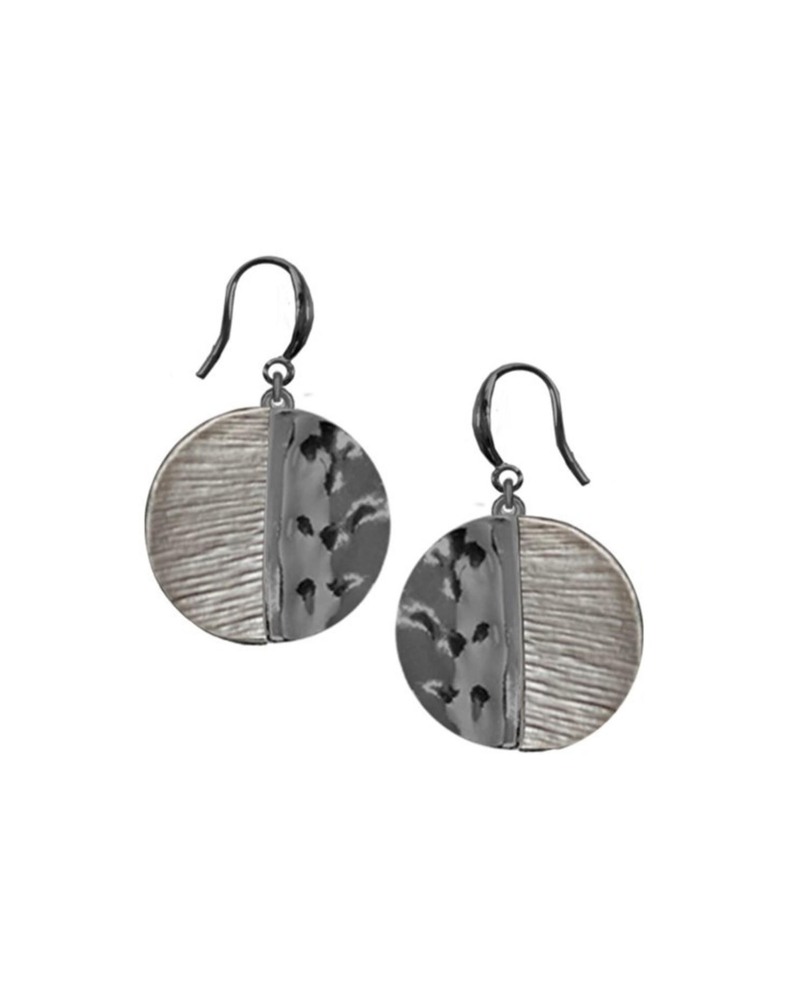 Boucle d'oreilles métalliques peint à la main-café