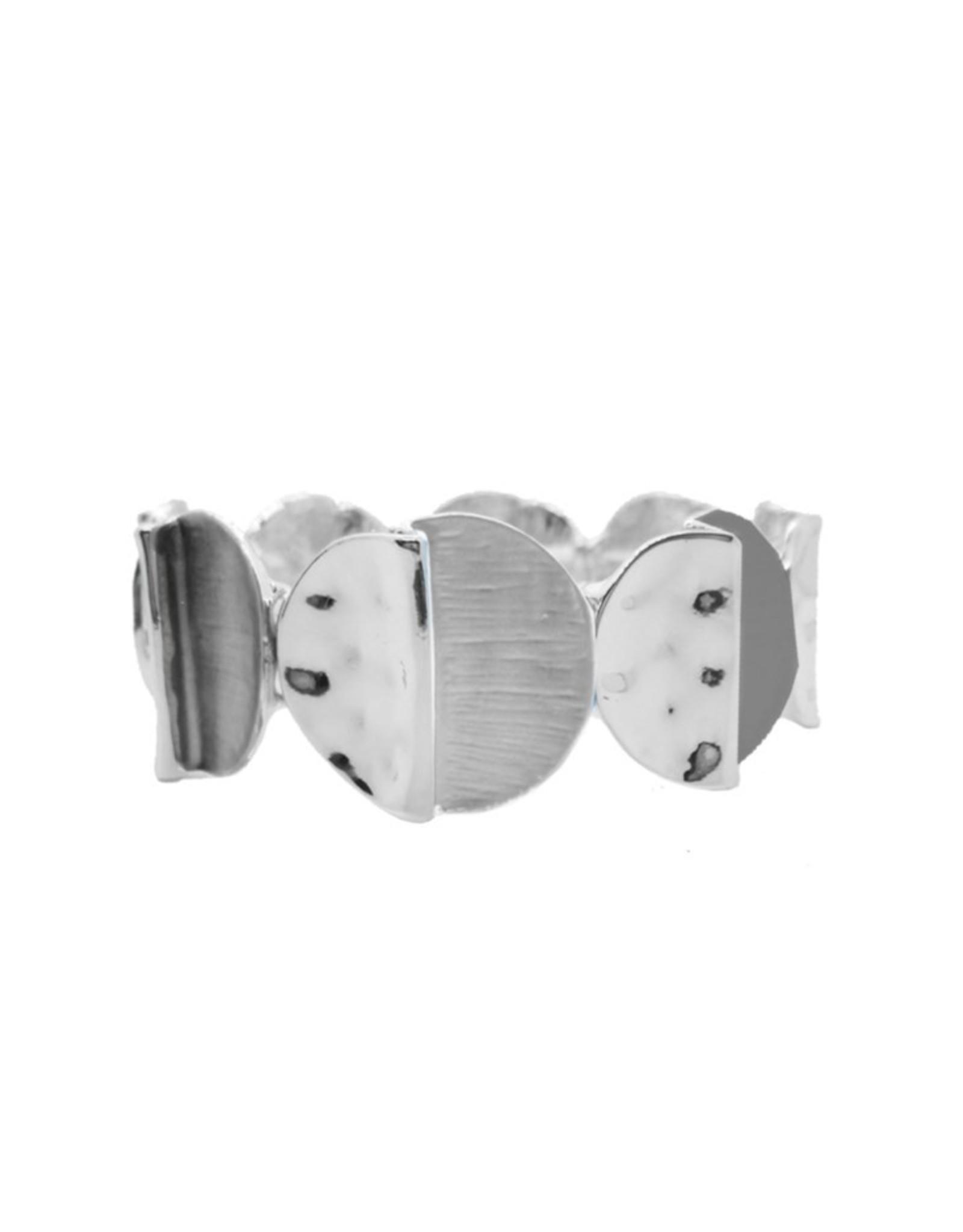 Bracelet élastique avec pièces métalliques peintes à la main-gris
