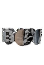 Bracelet élastique avec pièces métalliques peintes à la main-café