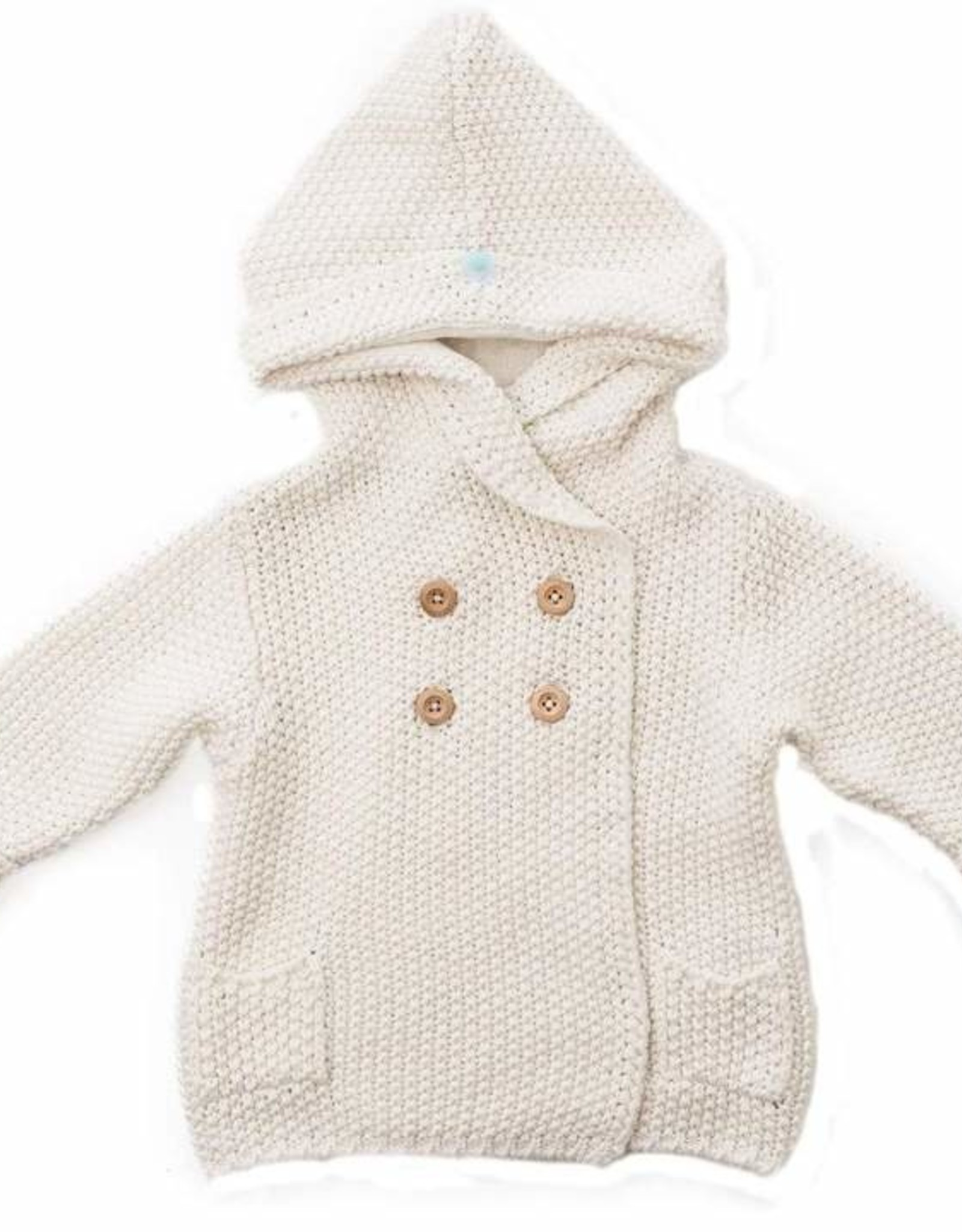 Crochet Knit Hoodie ivory 6-12 months
