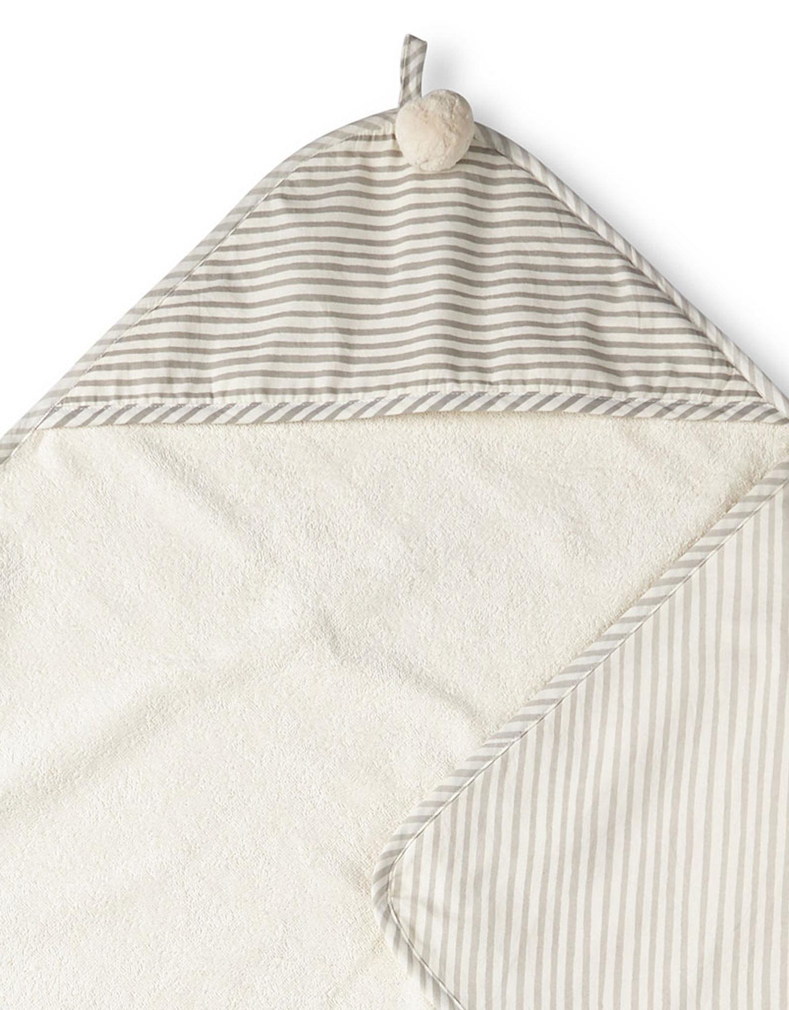 Serviette de bain à capuchon blanc/gris