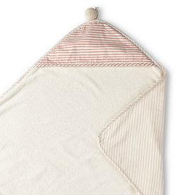 Serviette de bain à capuchon blanc/rose